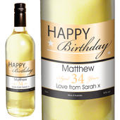 Personalised Happy Birthday White Wine - Personalise It!