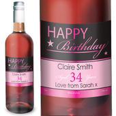 Personalised Happy Birthday Rose Wine - Personalise It!