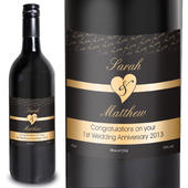 Personalised Couples Heart Red Wine- Black Design - Personalise It!
