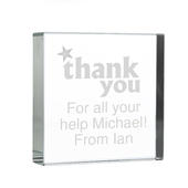 Personalised Thank you Large Crystal Token - Personalise It!