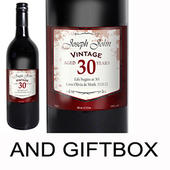 Personalised Red Wine Vintage Age Label with Gift Box - Personalise It!