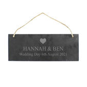 Personalised Heart Motif Hanging Slate Plaque - Personalise It!