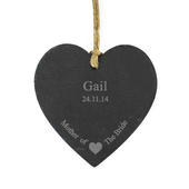 Personalised Mother Of The Bride Slate Heart Decoration - Personalise It!