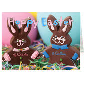 Personalised Milk Chocolate Bunny Card Add Any Name - Personalise It!
