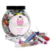 Personalised Miss Teacher Owl Sweet Jar - Personalise It!