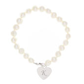 Personalised White Freshwater Scripted Initial Pearl Bracelet - Personalise It!