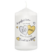 Personalised A Perfect Love Golden Anniversary Candle - Personalise It!