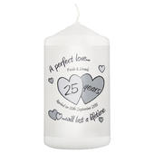Personalised A Perfect Love Silver Anniversary Candle - Personalise It!