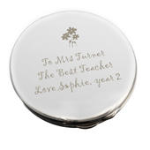 Personalised Flower Teachers Round Compact Mirror - Personalise It!
