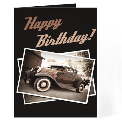Personalised Classic Car Card Add Any Name - Personalise It!