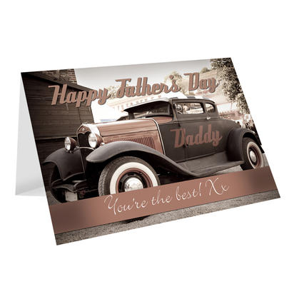 Personalised Classic Car Father's Day Card Add Any Name - Personalise It!