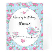 Personalised Floral Bird Card Add Any Name - Personalise It!