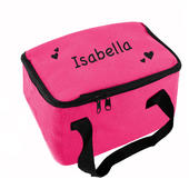 Personalised Black Hearts Pink Lunch Bag - Personalise It!