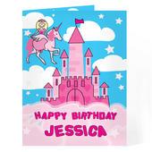 Personalised Princess & Unicorn Card Add Any Name - Personalise It!