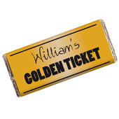 Personalised Golden Ticket Milk Chocolate Bar - Personalise It!