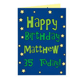 Personalised Happy Birthday Blue Star Card Add Any Name - Personalise It!