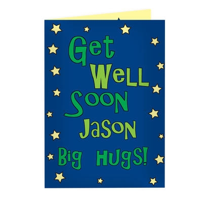 Personalised Get Well Blue Stars Card Add Any Name - Personalise It!