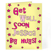 Personalised Get Well Pink Stars Card Add Any Name - Personalise It!