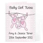 Personalised Twin Girls Washing Line Card Add Any Name - Personalise It!
