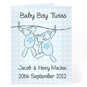 Personalised Twin Boys Washing Line Card Add Any Name - Personalise It!