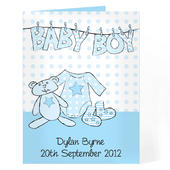 Personalised Baby Boy Washing Line Card Add Any Name - Personalise It!