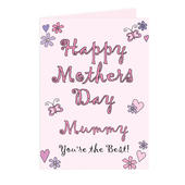 Personalised Flowers and Butterflies Happy Mothers Day Card - Personalise It!