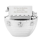 Personalised Silver Noahs Ark Money Box - Personalise It!