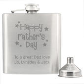 Personalised Stainless Steel Happy Father's Day Stars Hip Flask - Personalise It!