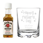 Personalised Happy Father's Day Glass & Bourbon Whiskey Miniature Set - Personalise It!