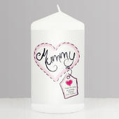 Personalised Heart Stitch Mummy Candle - Personalise It!