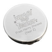 Personalised Worlds Best Teacher Round Compact Mirror - Personalise It!