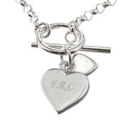 Personalised Hearts T-Bar Bracelet - Personalise It!