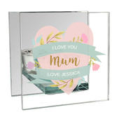 Personalised Floral Heart Mothers Day Mirrored Glass Tea Light Holder - Personalise It!