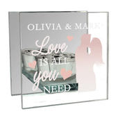 Personalised 'Love is All You Need' Mirrored Glass Tea Light Candle Holder - Personalise It!