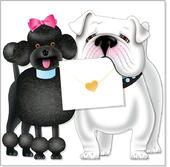 Poodle & Bulldog 3D Special Delivery Animal Greeting Card
