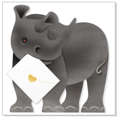 Ronny Rhino 3D Special Delivery Animal Greeting Card