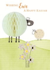 Honeycomb Lambs Wishing Ewe A Happy Easter Greeting Card