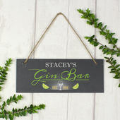"""Personalised """"""""Gin Bar"""""""" Printed Hanging Slate Plaque - Personalise It!"""