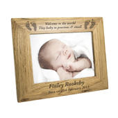 Personalised Baby Feet 7x5 Landscape Wooden Photo Frame - Personalise It!