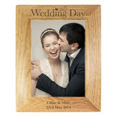 Personalised Wedding Day 5x7 Wooden Photo Frame - Personalise It!