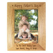 Personalised Happy Father's Day 5x7 Wooden Photo Frame - Personalise It!
