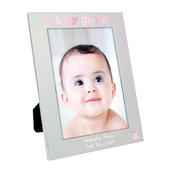 Personalised Silver 5x7 Baby Girl Photo Frame - Personalise It!