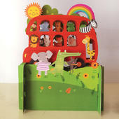 Children's Animals Red Bus Ride 3D Pop Up Birthday Greeting Card