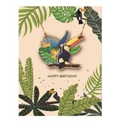 Birthday Card With Handmade Wooden Toucan Necklace