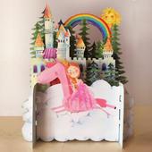 Children's Princess & A Unicorn 3D Pop Up Birthday Greeting Card