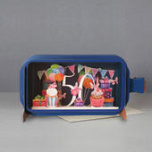 Message In A Bottle Cupcake 50th Pop Up Birthday Greeting Card