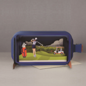 Message In A Bottle Lady Golfer Pop Up Birthday Greeting Card