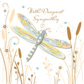 With Deepest Sympathy Dragonfly Embellished Greeting Card