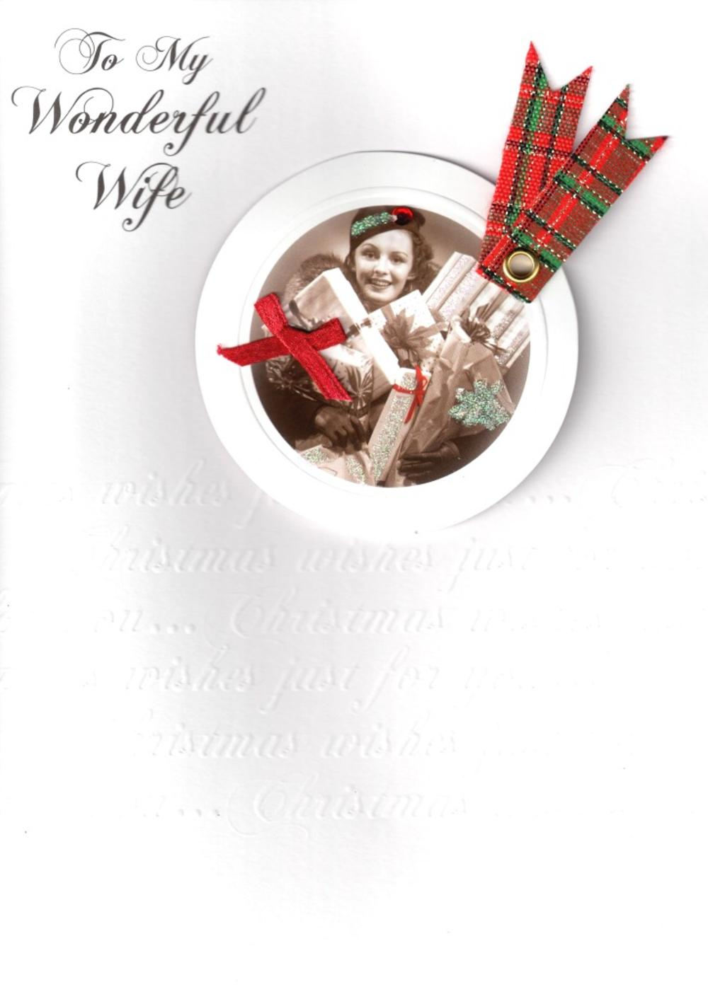 Wife Luxury Retro 3D Christmas Card