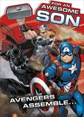 Marvel Avengers For An Awesome Son Birthday Greeting Card